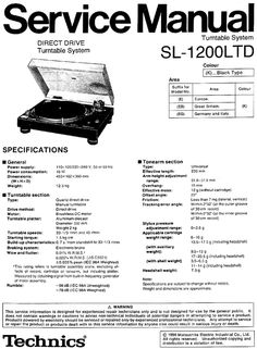 Technics SL-1200 LTD Limited Edition , Turntable , Service Manual * PDF format suitable for all DOWNLOAD