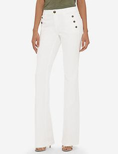 Buttoned High Waist Flare Jeans