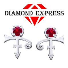 1/3 Ct Ruby Round Cut PRINCE Singer Artist Symbol Stud Earrings. Starting at $1