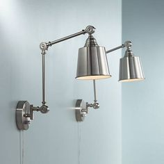 Mendes Brushed Steel Swing Arm Wall Lamp Set Of 2   #9J672 | Lamps Plus