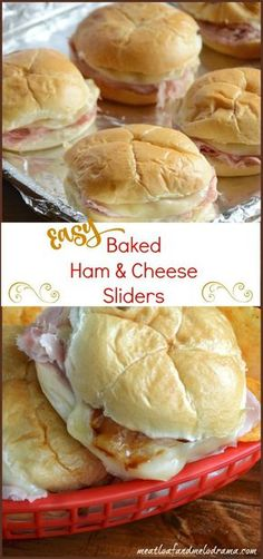 Easy baked ham and cheese sliders are made with deli ham and provolone cheese and topped with tangy barbecue sauce. They're perfect for a quick dinner or lunch or Super Bowl / game day snack! day snacks, Baked Ham and Cheese Sliders with Barbecue Sauce Ham Cheese Sliders, Ham And Cheese, Provolone Cheese, Baked Cheese, Cheese Food, Ham Cheese Sandwiches, Cheese Buns, Steak Sandwiches, Cheese Snacks
