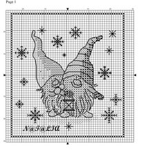 Cross-stitch More Santa Gnomes, part 3 of 3...  color chart on part 2