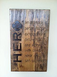 11x14 Wood Burned Hero Sign - Firefighter Gift, Police Officer Gift, Teacher Gift, $70.00