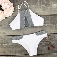 Cupshe Made the Cut Stripe Splicing Bikini Set - S / White