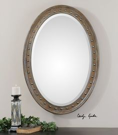 """Uttermost Sylvana Oval Mirror. Softly Weathered, Pine Wood Frame Is Lightly Washed In Gray Glaze Accented With Nickel Nail Trim. Mirror Features A Generous 1 1/4"""" Bevel. May Be Hung Horizontal Or Vertical. * Uttermost's Mirrors Combine Premium Quality Materials With Unique High-style Design. * With The Advanced Product Engineering And Packaging Reinforcement, Uttermost Maintains Some Of The Lowest Damage Rates In The Industry.  Each Product Is Designed, Manufactured And..."""
