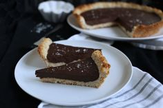 Vegan Chocolate Ganache Pie with a roasted coconut crust