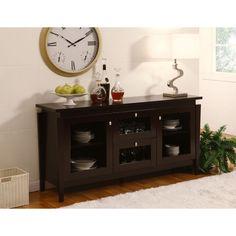 Benston Coffee Bean Buffet Cabinet Dining Room Furniture Storage Dinnerware Door