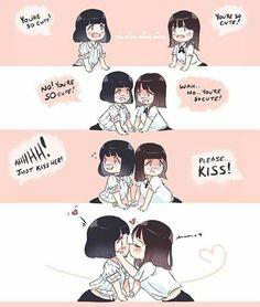 Cute Lesbian Couples, Lesbian Love, Yuri Comics, Yuri Anime, Anime Art, Lgbt Love, Baguio, Cute Stories, Cute Gay
