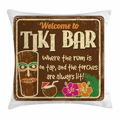 Ambesonne Tiki Bar Decor Aged Old Frame Square Pillow Cover Size: Throw Pillow Sets, Lumbar Pillow, Tiki Bar Decor, Tiki Bar Signs, Picnic Tablecloth, Tiki Bars, Old Frames, Decorative Cushions, Outdoor Throw Pillows