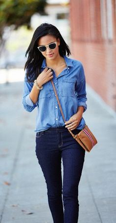 It looks like everyone will be wearing denim hues this fall, and we've got the style covered with our dark wash skinny jeans and Classic Chambray Shirt. Make sure to contrast your denim colors to keep this look fresh: dark jeans work well with faded, light shirts, and vice versa. Top off the look with a Striped Crossbody Bag and some simple, shiny jewelry. Find all your fall styles at Old Navy.