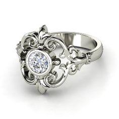 Winter Palace Ring, Round Diamond Platinum Ring from Gemvara