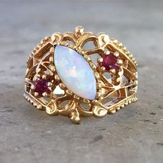 Opal and Ruby Vintage Gold Filigree Ring / circa 1960