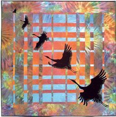 """convergence"" style backgrounds made popular by Ricky Tims, with Caryl Bryer Fallert's style of birds in flight"