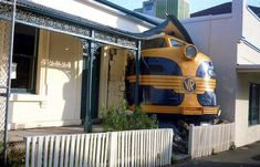 Victoria Railways locomotive shell made to appear to have crashed into the Station Hotel on Greville Street, Prahran, Victoria, Australia. The locomotive was removed and the hotel remodeled in about Diesel Locomotive, Steam Locomotive, Melbourne Suburbs, Railroad Pictures, Old Trains, Vintage Trains, Railroad Photography, Train Pictures, Victoria Australia