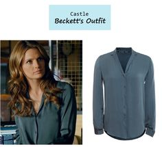 """November 12, 2013 @ 6:38 pm Stana Katic as Kate Beckett in Castle - """"A Murder is Forever"""" (Ep. 608). Kate's Button Down: Theyskens' Theory Brana Fayl Silk Shirt $295 here 
