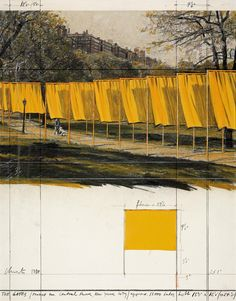 """Christo and Jeanne-Claude: The Gates (Project for Central Park, New York City). Collage 1980 28 x 22"""" (71 x 56 cm) Pencil, wax crayon, pastel, fabric, photostat and fabric sample. © 1980 Christo"""
