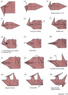 origami licorne origami pinterest licornes et origami. Black Bedroom Furniture Sets. Home Design Ideas