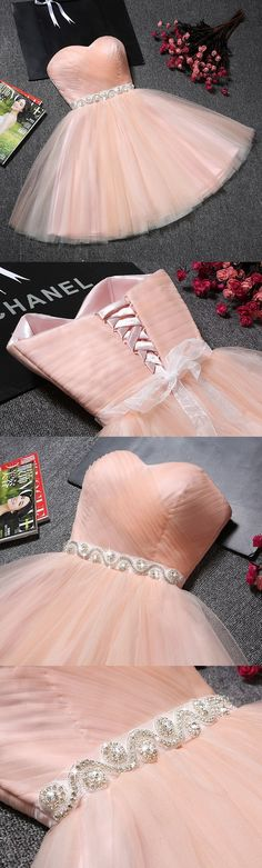 Strapless Homecoming Dress,Sweetheart Neck Blush Pink Tulle Short Prom Dresses with Sash,Graduation Dress,Homecoming Dresses,GH566