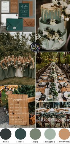 Sage Green Wedding Colour Theme with Black and White for Woodland Wedding
