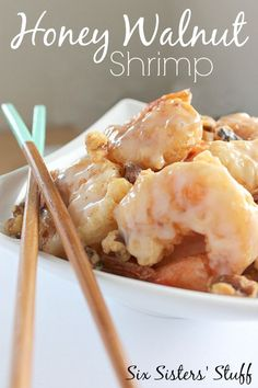 Honey Walnut Shrimp from SixSistersStuff.com. Delicious sweetness with crunchy battered shrimp!