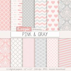 "Pink gray digital paper: ""PINK & GRAY"" pink grey sweet baby girl patterns - chevron, polkadots, stripes, damask, quatrefoil, arrows, hearts #etsy #scrapbooking"