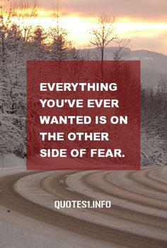 30 Inspirational Quotes Everything you've ever wanted is on the other side of fear.