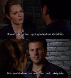 """Juliet: """"Eventually Carlton is going to find out about us."""" Shawn: """"I've seen his detective skills. That could take years."""" (Psych) Maggie Lawson as Juliet O'Hara, James Roday as Shawn Spencer Psych Memes, Psych Quotes, Psych Tv, Tv Quotes, Movie Quotes, Best Tv Shows, Best Shows Ever, Favorite Tv Shows, Real Detective"""