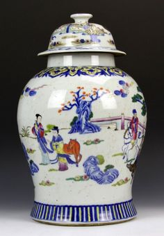 China, 19th C., Famille Rose Jar with cover, decorated with figures and animals in a garden landscape, banded pattern at base and shoulder, Qianlong mark on base. Height: 16 in.