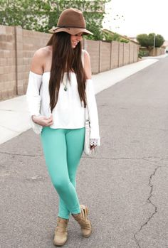 Tan booties, mint pants, off the shoulder top, crochet shirt, floppy hat, mint pendant, mint stone ring