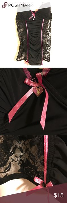 NWT Playboy Lingerie Black & hot pink with lace sides Playboy Intimates & Sleepwear