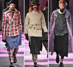 """Silhouette: Unpredictable. """"Moustache Men. Unusual garments that include kilts, full tartan suits, overcoats that closed in bondage straps.. Yamamoto played with scale and material. Collection mostly black, but with bursts of pink leopard print and tiger strip, eggplant suits. Yohji showed novel and unexpected ways to make men look good"""" - Andrew Luecke Tartan Suit, Man Weave, Pink Leopard Print, Yohji Yamamoto, Men Looks, Editorial Fashion, Knitwear, Bomber Jacket, Menswear"""