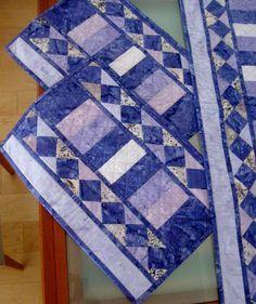 Batik Table Runner Quilted Table Runner Table Runner And Placemats, Quilted Table Runners, Small Quilts, Mini Quilts, Purple Quilts, Place Mats Quilted, Batik Quilts, Quilted Table Toppers, Quilt Border