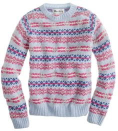 fair isle scotland | crew Harley Of Scotland Fair Isle Sweater in Blue (morning sky ...