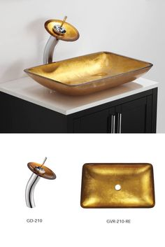 Golden Pearl Rectangular Glass Vessel Sink And Waterfall Faucet