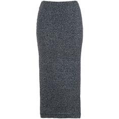 French Connection Bianca Midi Skirt, Black (£32) ❤ liked on Polyvore featuring skirts, midi skirt, straight skirt, elastic waist skirt, leather midi skirt and metallic midi skirt