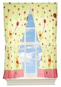 Winnie the Pooh Cheerful Friendly Window Panel Curtains by Disney. $14.99. Rod pocket suitable for drapery rods up to 1-inch diameter. Genuine licensed merchandise.. Two Winnie Pooh Cheerful Friendly drapery panels and matching tiebacks.. Machine washable. Rod pocket drapes with matching tie-backs. Pair of licensed Winnie the Pooh window curtains with matching tie-backs. Does not include valance. ... CONTENTS: Two rod pocket curtain panels totally measuring 82 inch ...