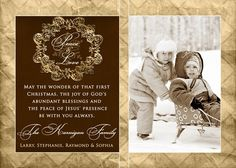 Religious Christmas Card - Elegant Custom Photo Layout - Brown & Gold Wreath