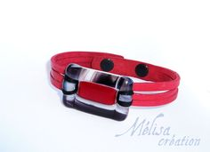 red leather bracelet and fused glass / women by MelisaCreation