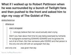 Robert Pattinson is the biggest Twilight hater out there. He will always be Cedric to me. << I don't mind Twilight but I like him in Harry Potter Harry Potter Love, Harry Potter Universal, Harry Potter Fandom, Harry Potter Memes, James Potter, Be My Hero, Fangirl, Goblet Of Fire, Dc Memes