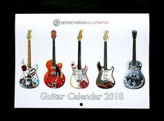 George Morgan Illustration Guitar Calendar 2018 Calendar 2018, Christmas Presents, Guitar, Unique Jewelry, Handmade Gifts, Illustration, Etsy, Vintage, Xmas Gifts