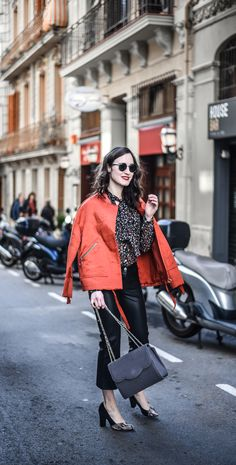 Bomber jacket and leather pants street style in Barcelona