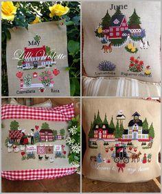 Needlework, Cross Stitch, Craft Ideas, Sewing, Crafts, Throw Pillows, Calendar, Punto De Cruz, Needlepoint