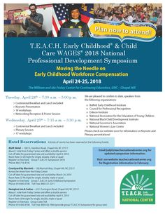 Save the date for the T.E.A.C.H. Early Childhood® & Child Care WAGE$ 2018 National Professional Development Symposium, April 2425, 2018!