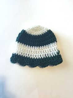 Green & White Striped Hat with Scallop Edge  by SmittenInAMitten