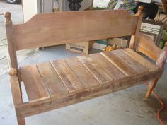 DIY Tutorial On Old Bed Into Bench | The AFTER   Finished DIY Headboard  Bench More