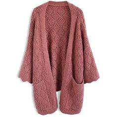 Chicwish Cozy Touch Diamond Open Knit Cardigan in Brick Red (€46) ❤ liked on Polyvore featuring tops, cardigans, jackets, red, open knit top, diamond tops, open stitch cardigan, cardigan top and chicwish tops