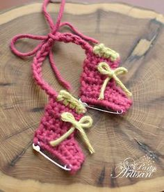 Cute crochet ornament ice skates