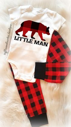 Baby Boy Little Man Buffalo Print Plaid Bear Christmas Onesie Creeper Body Suit - Babys First Christmas Shirt - Baby Boy Shower Gift - Comming Home Outfit - Winter Buffalo Plaid