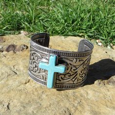 last one! Cowgirl Bling TURQUOISE CROSS SCROLL Bracelet CUFF Silver Gypsy western  #Unbranded #Cuff