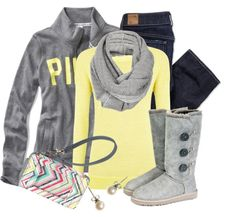 See more Yellow shirt grey sweater jeans winter shoes and hand bag for ladies The post Cute Lazy Day Outfits appeared first on Best Jean. Winter Shoes, Fall Winter Outfits, Autumn Winter Fashion, Winter Style, Winter Clothes, Cute Fashion, Look Fashion, Womens Fashion, Fashion Trends